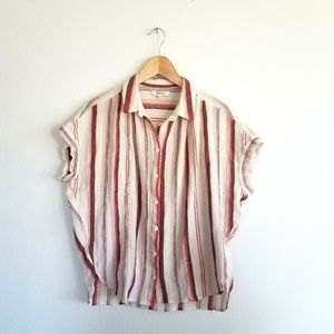 Madewell Crinkle Striped Cuff Short Sleeve Medium